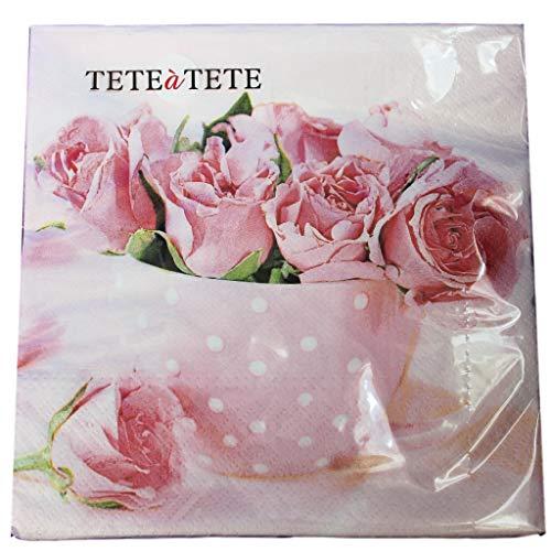 'Rose IN una tazza' Everyday 2016-TaT-Confezione da 20 tovaglioli di carta, motivo ', 3 Veli, 33 x 33 cm