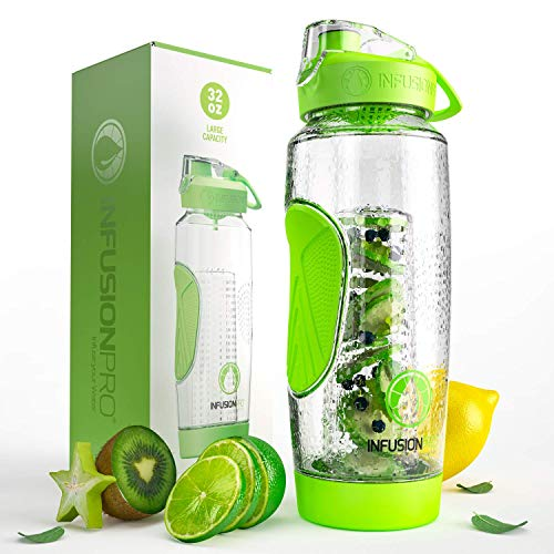 Infusion Pro Fruit Infusion Water Bottle (32 oz) - Includes Neoprene Insulation Sleeve and Rec-ipe eBook - Built-In Strainer Filters Pulp, Seeds and Ice - BPA-Free, Non-Toxic Plastic