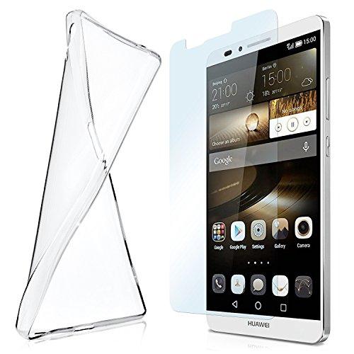 moex Aero Hülle mit Panzerglas für Huawei Ascend Mate 7 - Hülle mit Schutzfolie, transparent - Crystal Clear