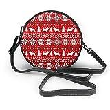 Norwich Terrier Siluetas de Navidad patrón de suéter redondo Crossbody Bolso de piel sintética con cremallera para el hombro, bolso de teléfono celular para mujer personalizado