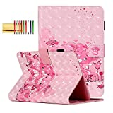 Universal Case for 7.9-8.4 Inch Tablet, Techcircle Stylish 3D Printed Folding Stand Magnetic Cover with Card Slots Pen Holder Case for Samsung 8.0' 8.4' Tablet, LG G Pad 8.0 8.3, 3D Pink Bears