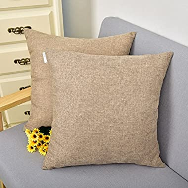 Natus Weaver Throw Cushion Faux Linen Home Decorative Hand Made Pillow Case Cushion Cover For Naps , 18 x 18 - inch, Brown , 2 Pieces