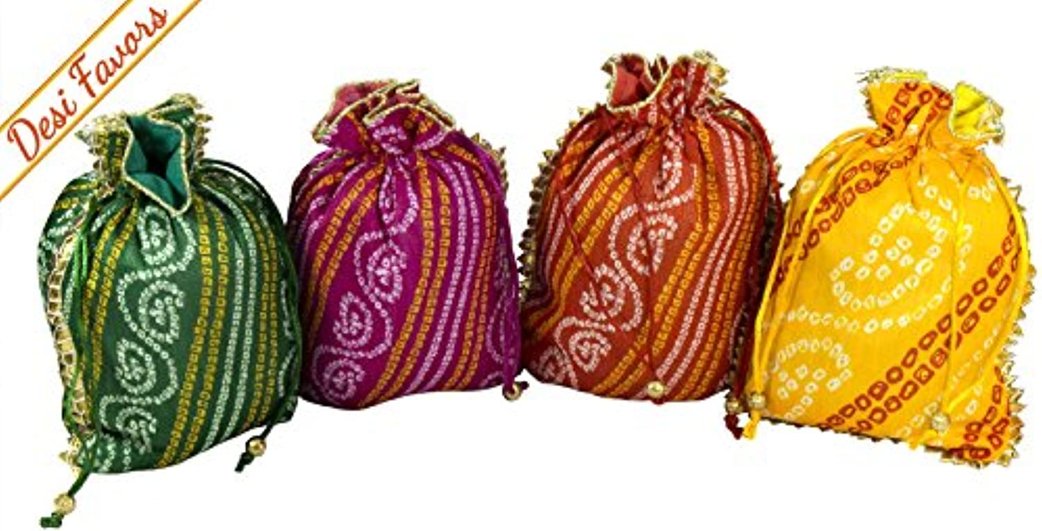 Desi Favors Set of 4 Assorted Potlis/batwa/Drawstring Pouches/Silk Party Favour/Favor Bags for Weddings/Housewarming/Christmas/Birthdays Pooja Return Gifts with Gold Fringe and Foamed Lining Inside.