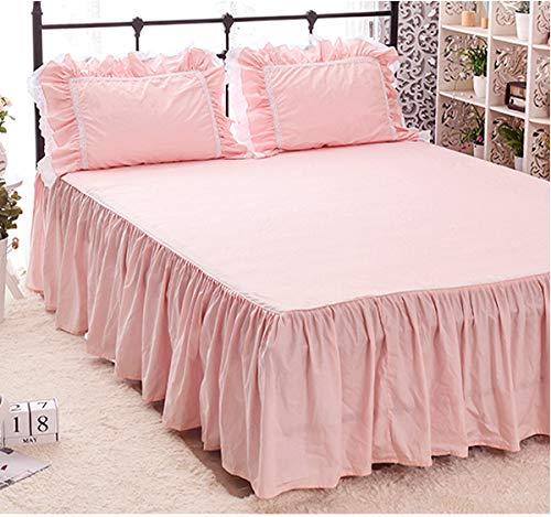 ノーブランド品 姫系ピンクのベッドカバー(ベッドスカート)無地綿100%120 * 200 + 45センチメートル セミダブル ピンク1
