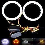 Taben - 1 juego de luces LED 3020 de 60 mm, 36SMD, ojos de ángel, intermitente, con cambio de blanco a ámbar