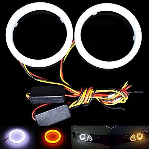 TABEN 1-Set de Commutateur Blanc Ambre 60 mm 36SMD 3020 puces LED Phare anneau clignotant Angel Eyes et boîtier antibrouillard avec coque laiteuse