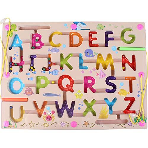 Gobus Perlas de Madera Laberinto niños Educativo Juego de Mesa Laberinto Rompecabezas Juguetes (Alfabeto ABC Letra Palabra)