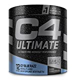 C4 Ultimate Pre Workout Powder ICY Blue Razz | Sugar Free Preworkout Energy Supplement for Men & Women | 300mg Caffeine + 3.2g Beta Alanine + 2 Patented Creatines | 12 Servings