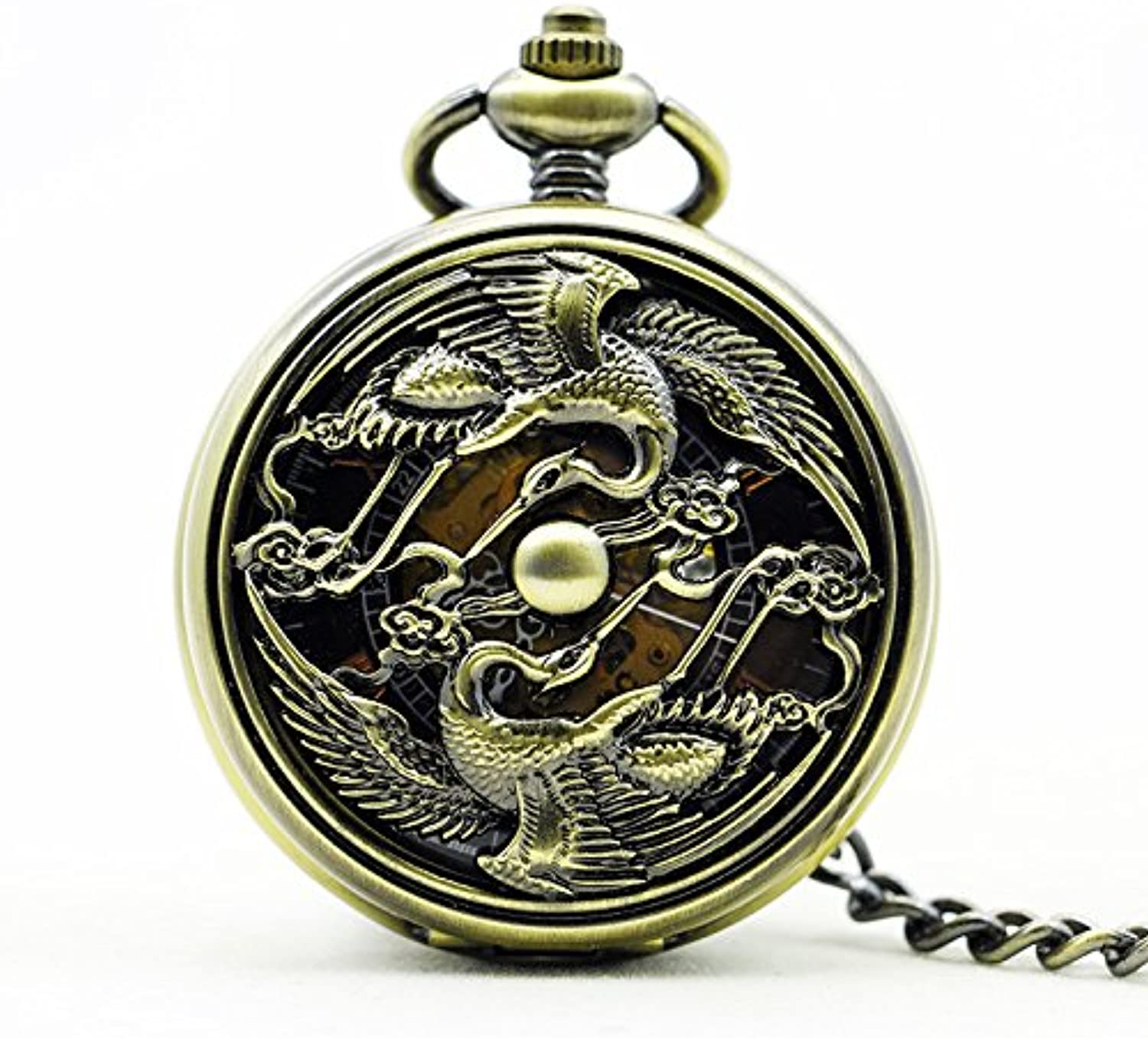 XM Highgrade bronze retro engraving Longfeng men and womenfriendly mechanical pocket watch