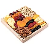 Milliard Dried Fruit & Nut Deluxe Gift Platter Arrangement on Wood Tray for Occasions including New Years, Valentines Day, Mothers Day and Holiday - 24 Ounce Assortment
