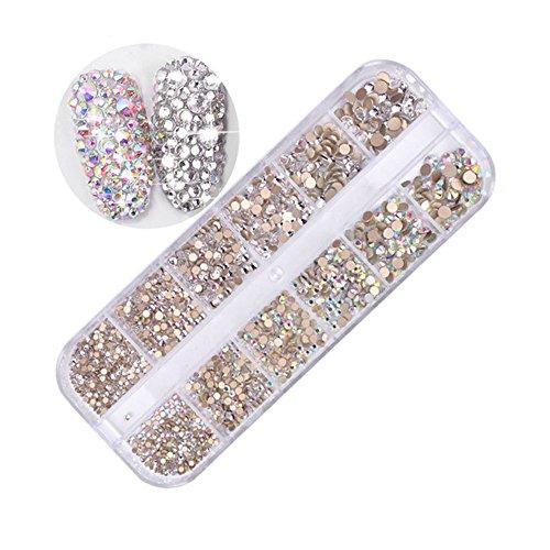 MUUZONING 3D StrassVerschiedene formen für Nail Art Dekorationen,Lange Box Nail Perlen Glitter Kristalle Nagel Dekoration Großer Edelstein:#1