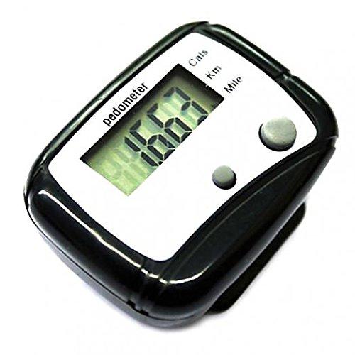 Geshiglobal LCD-Schrittzähler, Kalorienzähler, Entfernungsmesser, mit Taschen-Clip, Schwarz