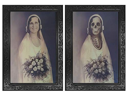 Halloween Scary Decorations Haunted House Props 3D Face Changing Picture Frame Portrait Monster Haunted Spooky Decorations for Horror Theme Party Halloween Home Wall Decor (Bride)