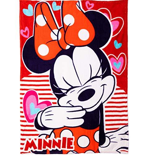 Disney Manta Polar para niños y Adultos con Licencia de Mickey Minnie Mouse, Manta de Forro Polar Suave al Tacto, Tela de Forro Polar, tamaño Grande, Lana Coral, Rosa, Size 90 x 120 cm