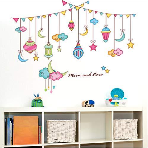 wassaw Cartoon Sterne Farbige Fahnen Wandaufkleber PVC Material DIY Wandtattoos Für Kinder Schlafzimmer Wohnzimmer Dekoration 91 * 71 cm
