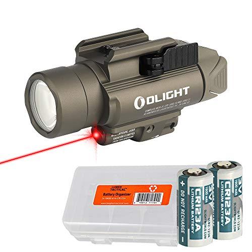 OLIGHT Baldr RL Desert Tan 1120 Lumen Pistol Flashlight and Red Laser Sight with LumenTac Battery Organizer