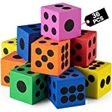 Foam Dice Set - Bulk Pack of 36, 1.5 Inch Large Assorted Colorful Foam Dice Cubes with Number Dots, Use for Kids, Classrooms, Math Games, Building Toys, Party Supplies by Bedwina