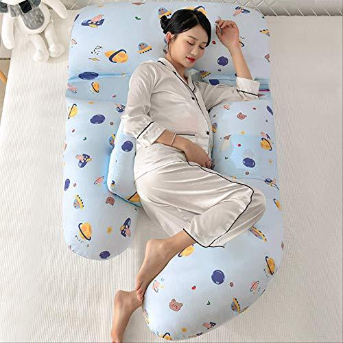 Chunjiao Side Sleeping Taille Kissen Schwangere Frau Bauchunterstützung Kissen G Typ Multifunktionale Taille Kissen 100% Baumwolle 180 cm * 115 * 75cm Planet-Blau U-förmiges Kissen