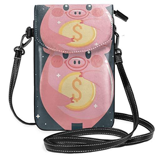 PageHar Monedero para teléfono celular de cerdo dorado de dibujos animados, bolso bandolera, bolsos de hombro, billetera para mujeres, niñas, viajes, bodas
