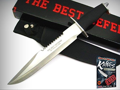 """THE BEST DEFENSE Tactical 15"""" SAWBACK BOWIE Fixed Knife + Sheath 210240 New! + free eBook by ProTactical'US"""