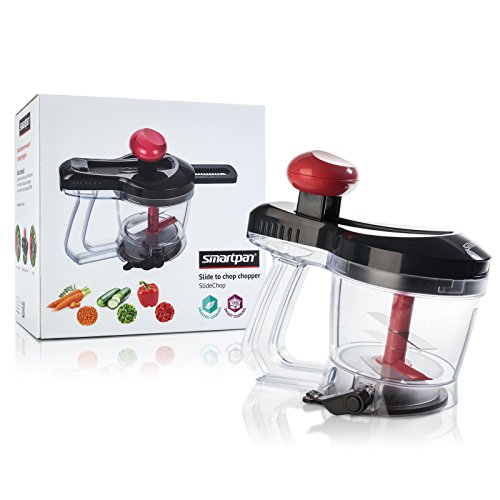 SMARTPAN Vegetable Chopper | Manual and Handheld | Patented Design | Slide to Chop | Great for Onions, Tomatoes, Garlic, Peppers, and any other Fruits or Vegetables | Easy to Use | Dishwasher Safe