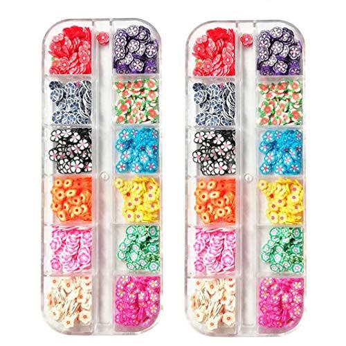 Pixnor 2 Boîtes 3D Argile Polymère Tranches de Fruits Charmes de Fleurs Embellissement Paillettes à Ongles pour Bricolage Artisanat Nail Art Décoration Fournitures (Style Aléatoire)