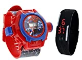 Pappi-Haunt - Quality Assured - Kids Special Toys - Pack of 2 -Spiderman Projector Band Watch + Jelly Slim Black Digital Led Band Watch for Kids, Children, Boys, Girls