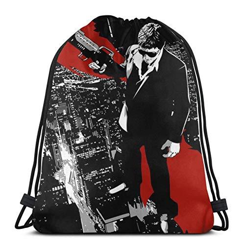 XCNGG Bolsa de gimnasia Bolsa con cordón Bolsa de viaje Bolsa de deporte Mochila escolar MochilaAnime Scarface Unisex Drawstring Backpack Funny Shoulder Bags Cinch bag Polyester Waterproof String Bags