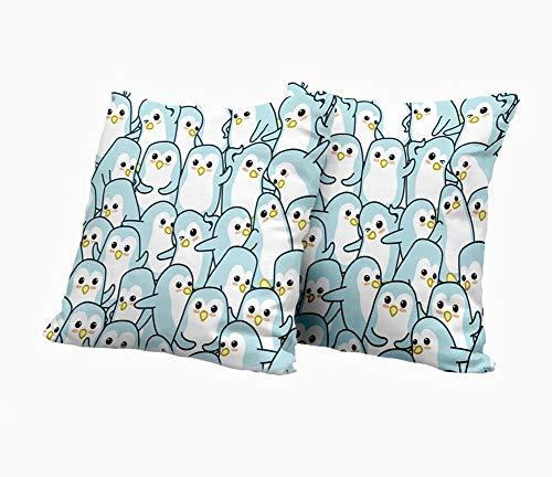 SAIAOS Juego de 2 Funda de Cojín 45x45cm,Cute Dibujos Animados sin Fisuras patrón de Muchos pingüinos,Fundas de Almohada para Cojines Decorativos para Sofá Cama Coche Hogar
