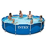 Intex 28211EH 12ft x 30in Metal Frame Above Ground Pool Set with Filter Pump, 12 ft x 30 in, blue