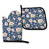 XCNGG Guantes para microondas Bloom Oven Mitts Pot Holders Set Heat Resistant Kitchen Waterproof with Inner Cotton Layer for Cooking BBQ Baking