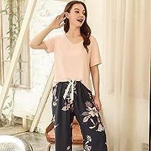 Pijamas Camisón Pijama Transpirable De 2 Uds Con Estampado De Manga Corta Para Mujer, Ropa De Dormir Holgada Para Mujer, Conjunto De Pijama Informal Para Mujer, Conjunto De Pijama Para Mujer Mj