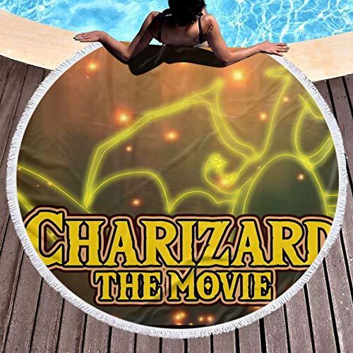 Po-ke-mon-Mega-Charizard - Toalla redonda de baño para baño, súper absorbente, de secado rápido, toallas de playa redondas para gimnasio, camping, piscina, baño para niños
