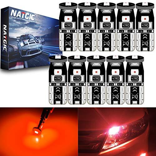 NATGIC T10 W5W 194 921 168 2825 Ampoules LED CanBus sans Erreur 3SMD 3030 Puce pour éclairage Intérieur de Voiture Porte Courtoisie Wedge Light Tronc Ampoules - Rouge 3500K 350LM 12V (Pack de 10)