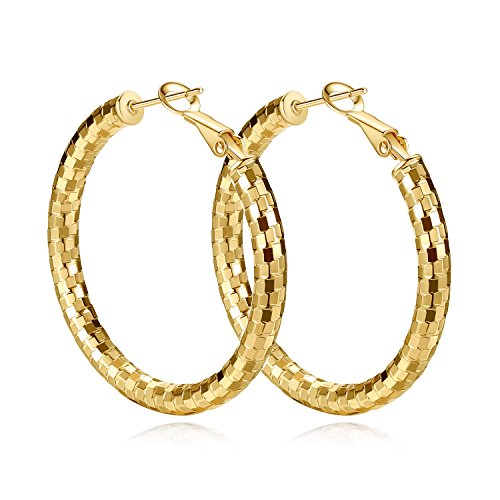 Yumay 9ct Yellow Gold Round Hoop Earrings,41mm Big Creole Earrings for Women Premium Fashion Jewelry.