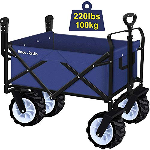 Photo of BEAU JARDIN Folding Wagon Garden Cart Foldable Push Trolleys Collapsible Utility 100KG Max load Sturdy Portable Rolling Lightweight Beach Outdoor Garden Picnic Heavy Duty Shopping Cart Wagons Upgrade