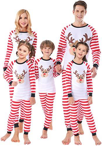 Matching Family Christmas Red Striped Pajamas Boys Girls Cartoon Reindeer Pjs Women Men Sleepwear Kids Size 3