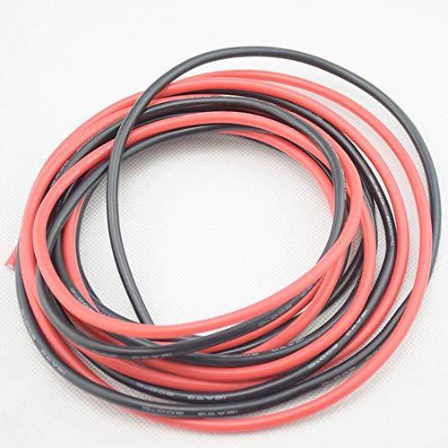 LINGZIA Cable de silicona de calibre 5 m (negro y rojo) Cables de cobre trenzados flexibles para cableado RC 12AWG 14AWG 16AWG 18AWG20AWG 5m 20 AWG