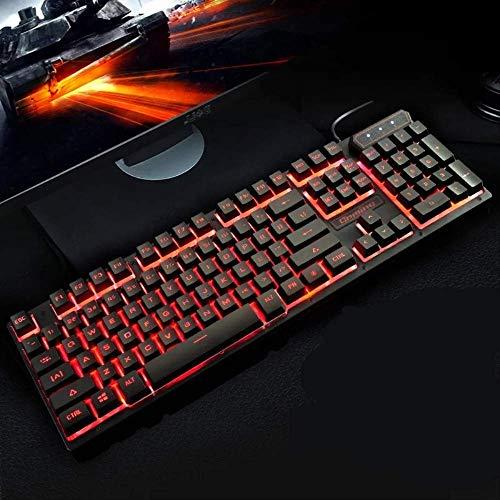 DJYD Mechanische Hand-Filz-Multi-Color Backlit Keyboard USB verdrahtetes Licht emittierende Tastatur Rainbow Game Keyboard FDWFN