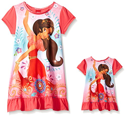 Disney Girls Avalor Nightgown with Matching Doll Gown, Elena Royalty in Red, 6