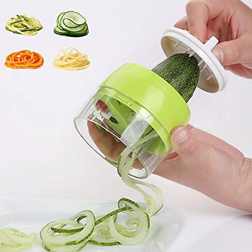 Handheld Spiralizer Vegetable Slicer 3 in 1 Spiralizer Grater Slicer for Vegetables, Spaghetti, Fruit, Thick and Thin Pasta Spirals, Easy to Clean Best for Low Carb/Paleo/Gluten-Free Meals,Green