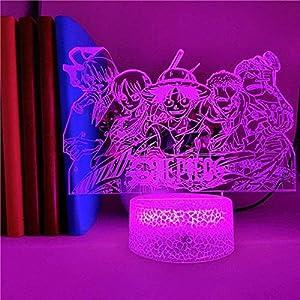 3D Night Light Anime One Piece Straw Hat Pirates Team Night Light 3D LED Illusion Table Lamp Colorful Lights Decor HYKK