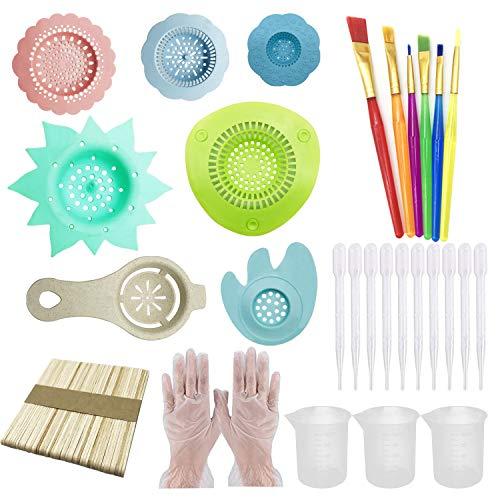 Allazone 37 PCS Acrylic Pouring Art Supplies Kit Acrylic Pouring Strainers Set, 7 PCS Plastic Silicone Paint Pouring Strainers Painting Tools Kits with Paintbrush for DIY Paint