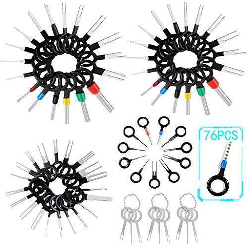 Terminal Removal Tool Kit für Auto Car Elektrische Verkabelung Crimpverbinder Terminal Pin Extractor Puller Reparaturentferner Werkzeugset für die meisten Anschlussklemmen (76stk)