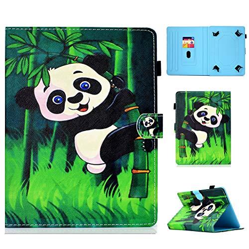 HereMore Funda Tablet de 9-10.1', Smart Case Carcasa Protectora de Cuero para Galaxy Tab A6 10.1, Huawei MediaPad T3/T5 10/M5 Lite 10 LNMBBS 10.1, BQ Aquaris M10,Yuntab K17, Lenovo TB-X103F, Panda
