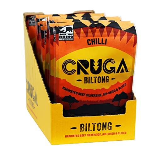 Cruga Beef Biltong Chilli Flavour Box of 12 x 70 Grams