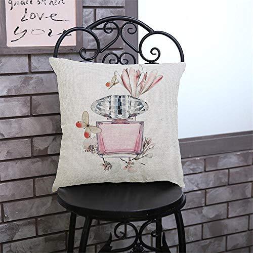 JIAORLEI With Pillow & Cushion Innerthicken Linen/Cotton Perfume Bottles Flowers Cushion Cover Modern Creative Sofa Pillow Covers Decorative Christmas Pillow Case-40X40Cm