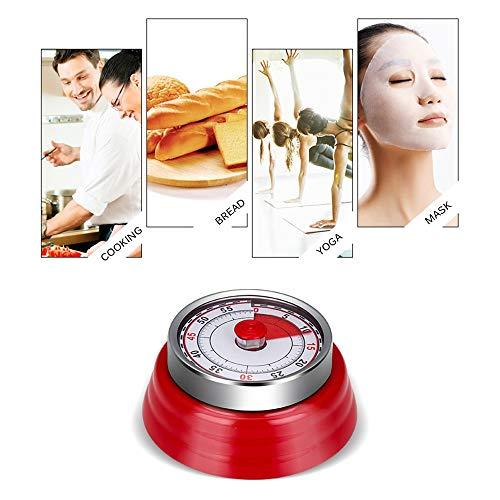 Magnetische Küchen-Timer Mechanische Kochen Alarmzähler Uhr Backen Erinnerung Mini runde Form Edelstahl (Color : Red)