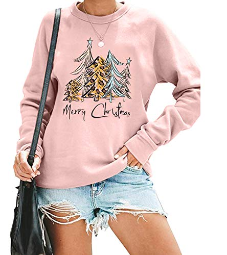 KIDDAD Merry Christmas Sweatshirt Shirt for Women Christmas Leopard Tree Graphic Long Sleeve Tees Blouse Pullover Pink
