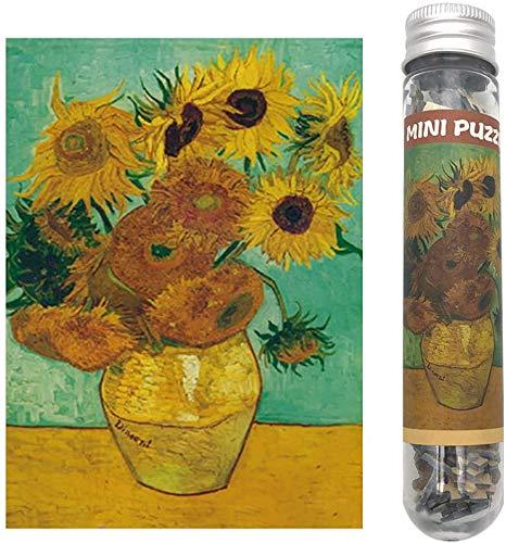 NAXIEE 150 Piece Mini Jigsaw Puzzle für Erwachsene,Mini Ölgemälde Puzzle,Mini Puzzle Spielzeug,15 x 10cm (Sonnenblume)